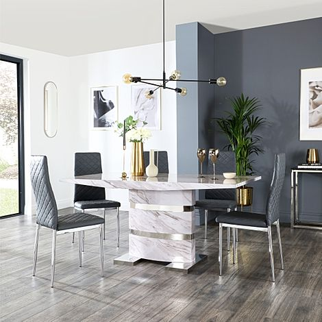 Komoro Grey Marble Dining Table and 4 Renzo Grey Leather Chairs