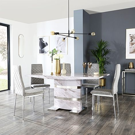Komoro Grey Marble Dining Table and 6 Renzo Grey Velvet Chairs