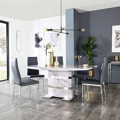 Komoro Grey Marble Dining Table and 6 Leon Grey Leather Chairs