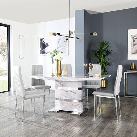 Komoro Grey Marble Dining Table and 4 Leon Light Grey Leather Chairs