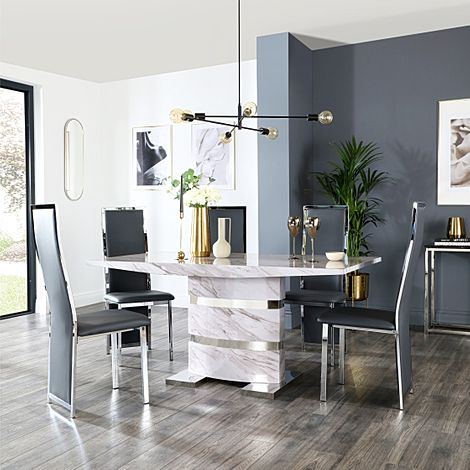 Komoro Grey Marble Dining Table and 4 Celeste Grey Leather Chairs
