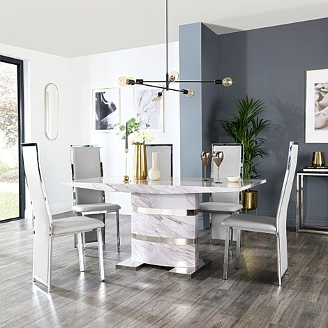 Komoro Grey Marble Dining Table and 4 Celeste Light Grey Leather Chairs