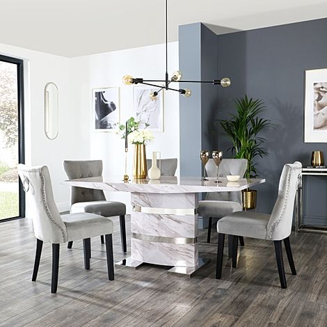 Komoro Grey Marble Dining Table and 4 Kensington Grey Velvet Chairs