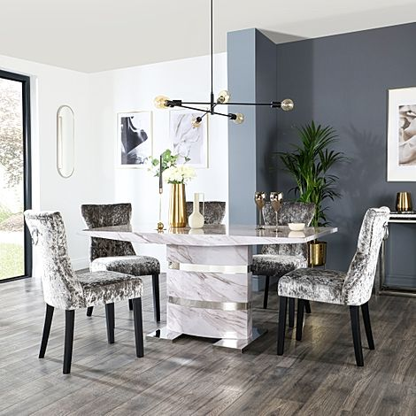 Komoro Grey Marble Dining Table and 4 Kensington Silver Velvet Chairs