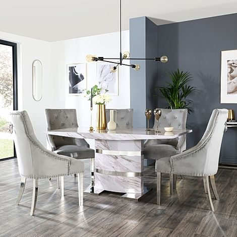 Komoro Grey Marble Dining Table and 6 Imperial Grey Velvet Chairs
