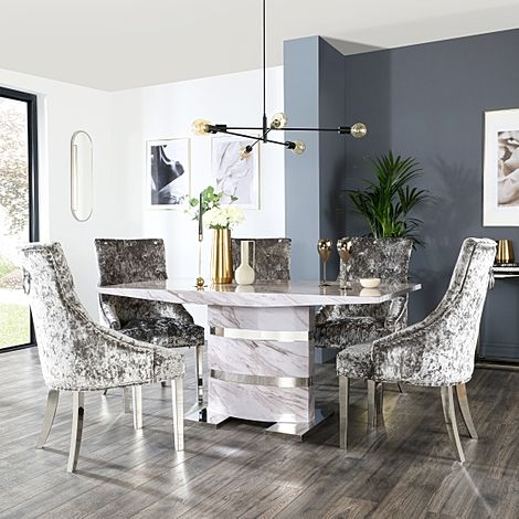Komoro Grey Marble Dining Table and 6 Imperial Silver Velvet Chairs