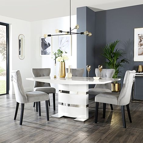 Komoro White High Gloss Dining Table with 6 Kensington Grey Velvet Chairs (Black Leg)