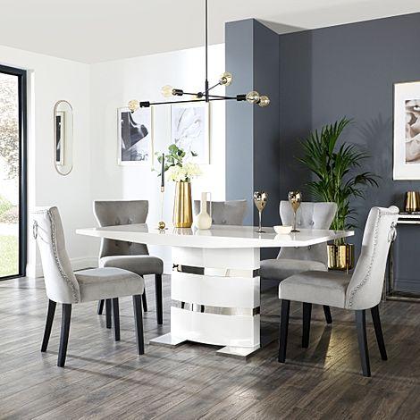Komoro White High Gloss Dining Table with 6 Kensington Grey Velvet Chairs (Black Leg)