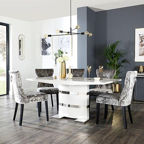 Komoro White High Gloss Dining Table with 4 Kensington Silver Velvet Chairs (Black Leg)