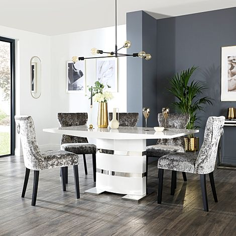 Komoro White High Gloss Dining Table with 6 Kensington Silver Velvet Chairs (Black Leg)