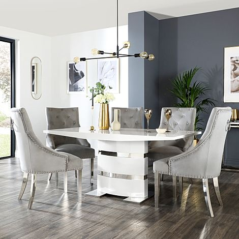Komoro White High Gloss Dining Table with 4 Imperial Grey Velvet Chairs (Chrome Leg)