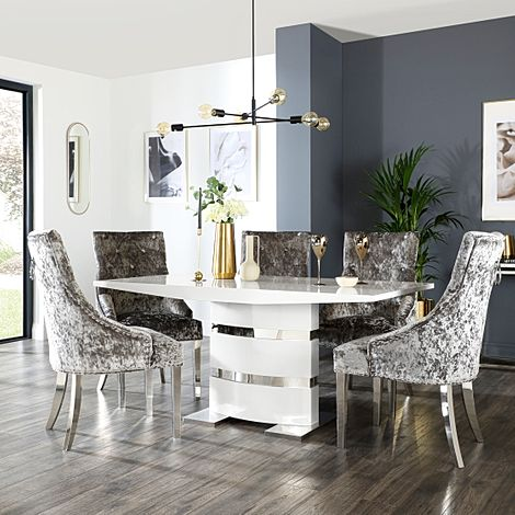 Komoro White High Gloss Dining Table with 6 Imperial Silver Velvet Chairs (Chrome Leg)
