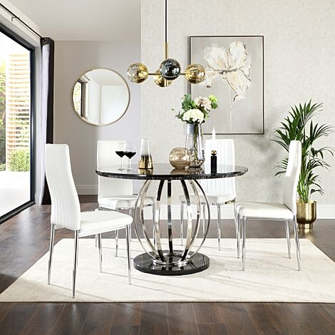 Savoy Round Black Marble and Chrome Dining Table with 4 Leon White Leather Chairs