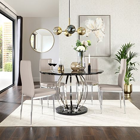 Savoy Round Black Marble and Chrome Dining Table with 4 Leon Taupe Leather Chairs
