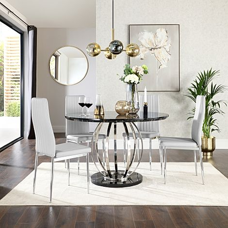 Savoy Round Black Marble and Chrome Dining Table with 4 Leon Light Grey Leather Chairs