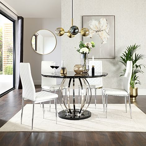 Savoy Round Black Marble and Chrome Dining Table with 4 Renzo White Leather Chairs