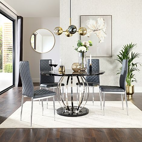 Savoy Round Black Marble and Chrome Dining Table with 4 Renzo Grey Leather Chairs