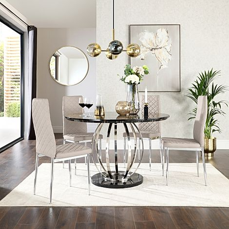 Savoy Round Black Marble and Chrome Dining Table with 4 Renzo Taupe Leather Chairs