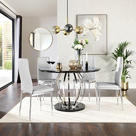 Savoy Round Black Marble and Chrome Dining Table with 4 Renzo Light Grey Leather Chairs