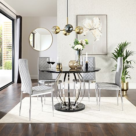 Savoy Round Black Marble and Chrome Dining Table with 4 Renzo Grey Velvet Chairs