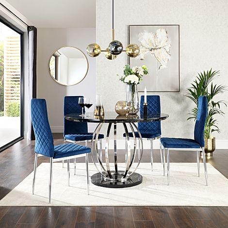 Savoy Round Black Marble and Chrome Dining Table with 4 Renzo Blue Velvet Chairs
