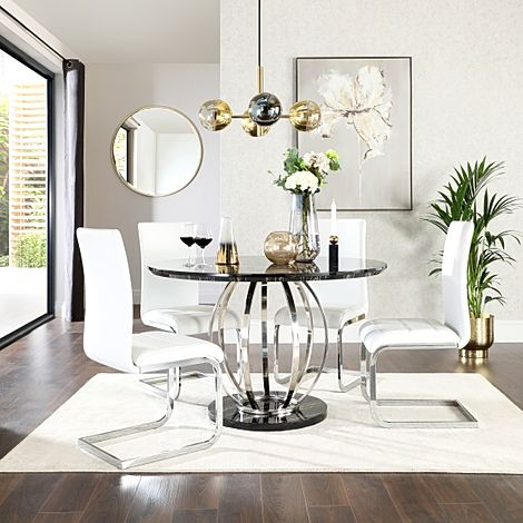 Savoy Round Black Marble and Chrome Dining Table with 4 Perth White Leather Chairs