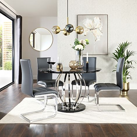 Savoy Round Black Marble and Chrome Dining Table with 4 Perth Grey Leather Chairs