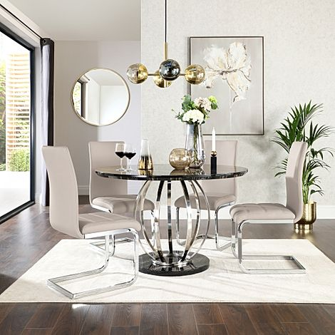 Savoy Round Black Marble and Chrome Dining Table with 4 Perth Stone Grey Leather Chairs