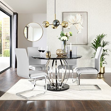 Savoy Round Black Marble and Chrome Dining Table with 4 Perth Light Grey Leather Chairs
