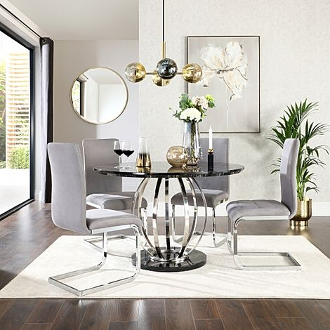 Savoy Round Black Marble and Chrome Dining Table with 4 Perth Grey Velvet Chairs