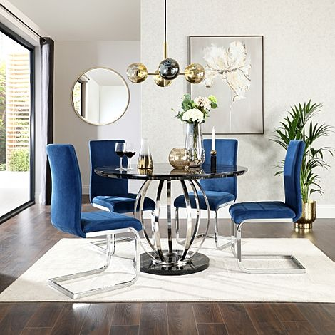 Savoy Round Black Marble and Chrome Dining Table with 4 Perth Blue Velvet Chairs