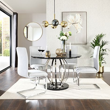 Savoy Round Black Marble and Chrome Dining Table with 4 Perth Dove Grey Fabric Chairs