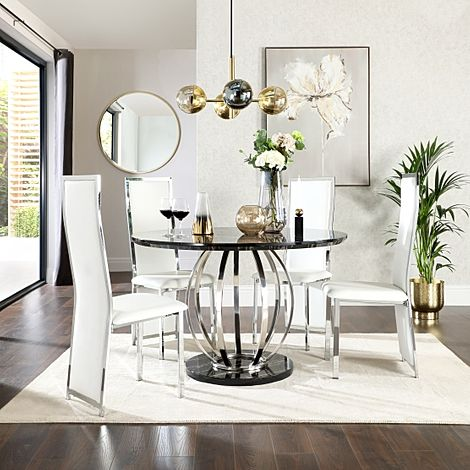 Savoy Round Black Marble and Chrome Dining Table with 4 Celeste White Leather Chairs