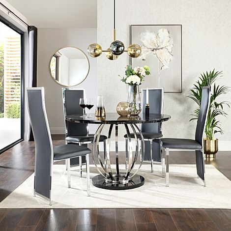 Savoy Round Black Marble and Chrome Dining Table with 4 Celeste Grey Leather Chairs