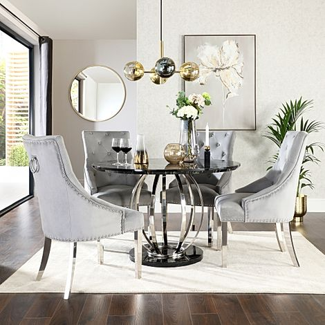 Savoy Round Black Marble and Chrome Dining Table with 4 Imperial Grey Velvet Dining Chairs