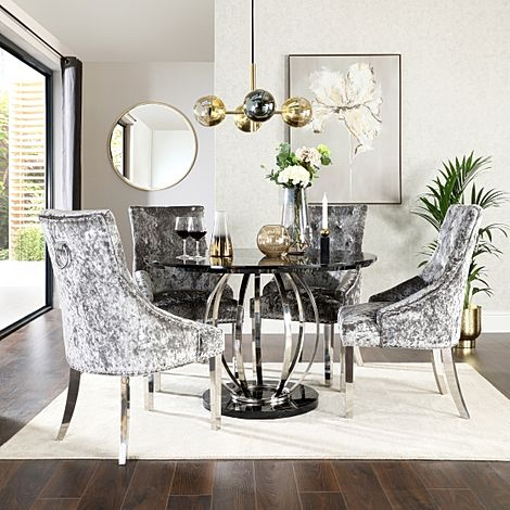 Savoy Round Black Marble and Chrome Dining Table with 4 Imperial Silver Velvet Dining Chairs