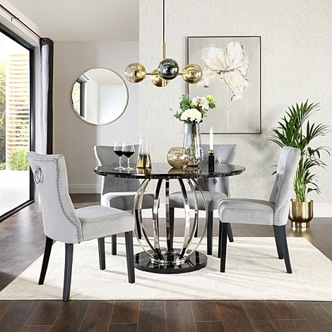Savoy Round Black Marble and Chrome Dining Table with 4 Kensington Grey Velvet Dining Chairs