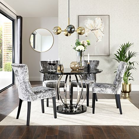 Savoy Round Black Marble and Chrome Dining Table with 4 Kensington Silver Velvet Dining Chairs