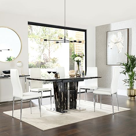 Vienna Black Marble Extending Dining Table with 6 Leon White Leather Chairs