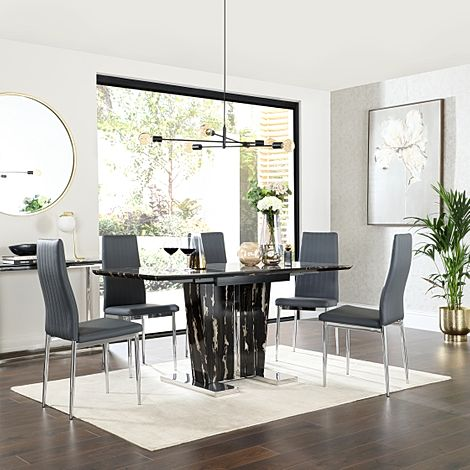 Vienna Black Marble Extending Dining Table with 6 Leon Grey Leather Chairs