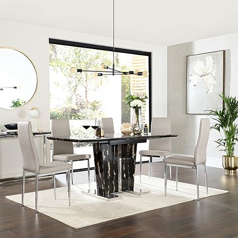 Vienna Black Marble Extending Dining Table with 4 Leon Stone Grey Leather Chairs