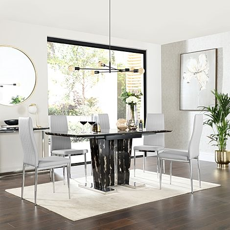 Vienna Black Marble Extending Dining Table with 6 Leon Light Grey Leather Chairs