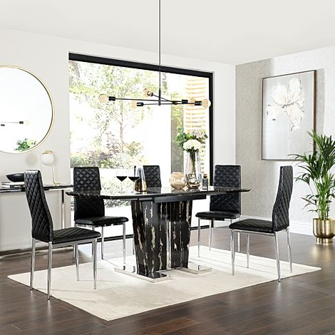 Vienna Black Marble Extending Dining Table with 6 Renzo Black Leather Chairs
