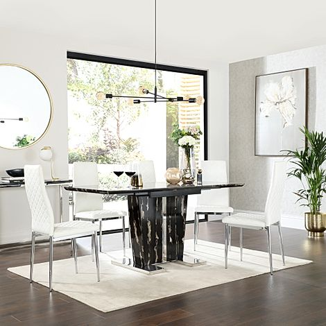 Vienna Black Marble Extending Dining Table with 6 Renzo White Leather Chairs