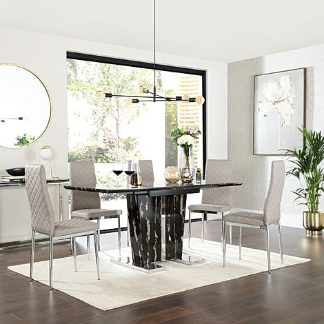 Vienna Black Marble Extending Dining Table with 6 Renzo Stone Grey Leather Chairs