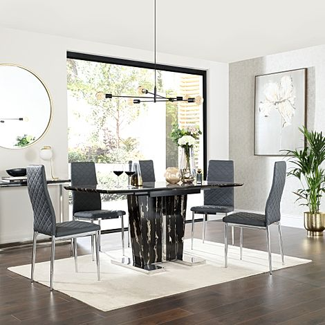Vienna Black Marble Extending Dining Table with 6 Renzo Grey Leather Chairs
