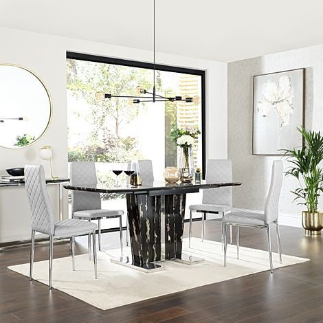 Vienna Black Marble Extending Dining Table with 6 Renzo Light Grey Leather Chairs
