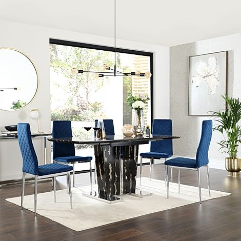 Vienna Black Marble Extending Dining Table with 6 Renzo Blue Velvet Chairs