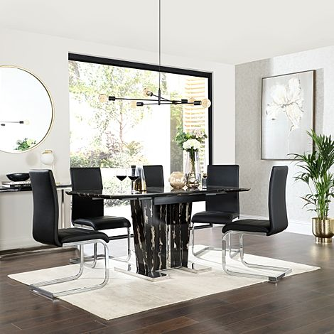 Vienna Black Marble Extending Dining Table with 6 Perth Black Leather Chairs
