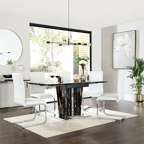Vienna Black Marble Extending Dining Table with 6 Perth White Leather Chairs